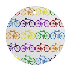 Rainbow Colors Bright Colorful Bicycles Wallpaper Background Ornament (round)