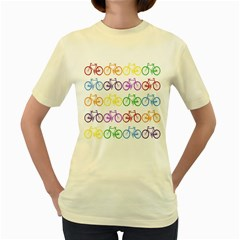Rainbow Colors Bright Colorful Bicycles Wallpaper Background Women s Yellow T Shirt
