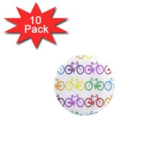 Rainbow Colors Bright Colorful Bicycles Wallpaper Background 1  Mini Magnet (10 Pack)