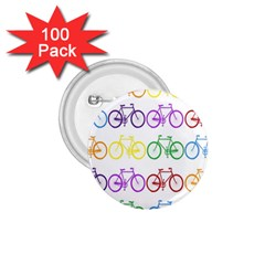 Rainbow Colors Bright Colorful Bicycles Wallpaper Background 1.75  Buttons (100 pack)