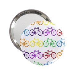 Rainbow Colors Bright Colorful Bicycles Wallpaper Background 2.25  Handbag Mirrors
