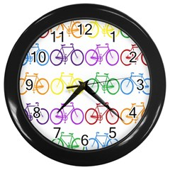 Rainbow Colors Bright Colorful Bicycles Wallpaper Background Wall Clocks (Black)