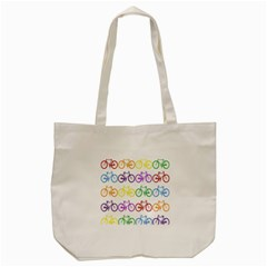 Rainbow Colors Bright Colorful Bicycles Wallpaper Background Tote Bag (cream)