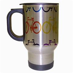 Rainbow Colors Bright Colorful Bicycles Wallpaper Background Travel Mug (silver Gray)