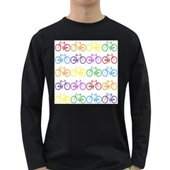 Rainbow Colors Bright Colorful Bicycles Wallpaper Background Long Sleeve Dark T-Shirts