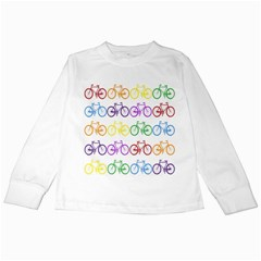 Rainbow Colors Bright Colorful Bicycles Wallpaper Background Kids Long Sleeve T Shirts