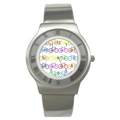 Rainbow Colors Bright Colorful Bicycles Wallpaper Background Stainless Steel Watch