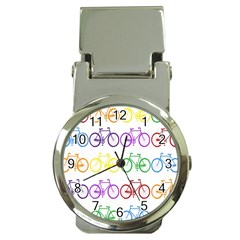 Rainbow Colors Bright Colorful Bicycles Wallpaper Background Money Clip Watches