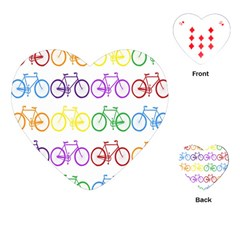 Rainbow Colors Bright Colorful Bicycles Wallpaper Background Playing Cards (heart)