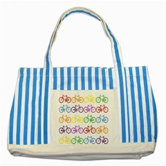 Rainbow Colors Bright Colorful Bicycles Wallpaper Background Striped Blue Tote Bag