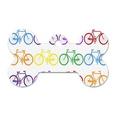 Rainbow Colors Bright Colorful Bicycles Wallpaper Background Dog Tag Bone (one Side)