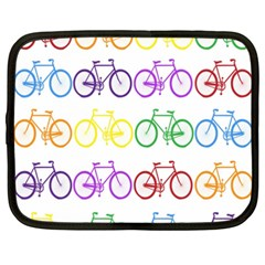 Rainbow Colors Bright Colorful Bicycles Wallpaper Background Netbook Case (XXL)