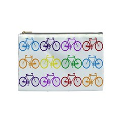 Rainbow Colors Bright Colorful Bicycles Wallpaper Background Cosmetic Bag (medium)