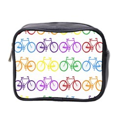 Rainbow Colors Bright Colorful Bicycles Wallpaper Background Mini Toiletries Bag 2 Side