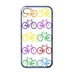 Rainbow Colors Bright Colorful Bicycles Wallpaper Background Apple Iphone 4 Case (black)