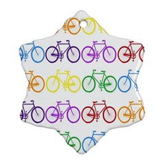 Rainbow Colors Bright Colorful Bicycles Wallpaper Background Snowflake Ornament (Two Sides)