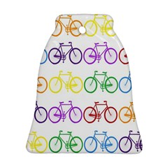 Rainbow Colors Bright Colorful Bicycles Wallpaper Background Bell Ornament (two Sides)