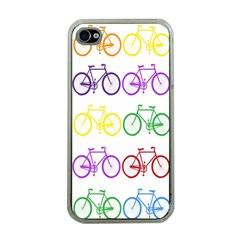 Rainbow Colors Bright Colorful Bicycles Wallpaper Background Apple iPhone 4 Case (Clear)
