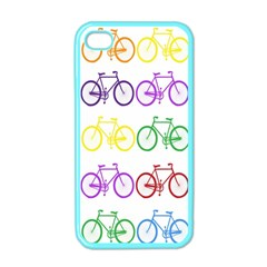 Rainbow Colors Bright Colorful Bicycles Wallpaper Background Apple iPhone 4 Case (Color)