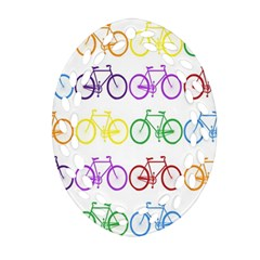 Rainbow Colors Bright Colorful Bicycles Wallpaper Background Ornament (Oval Filigree)