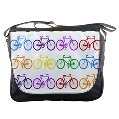 Rainbow Colors Bright Colorful Bicycles Wallpaper Background Messenger Bags