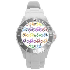 Rainbow Colors Bright Colorful Bicycles Wallpaper Background Round Plastic Sport Watch (L)
