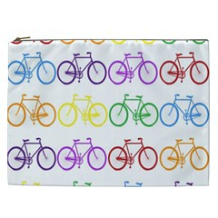 Rainbow Colors Bright Colorful Bicycles Wallpaper Background Cosmetic Bag (XXL)