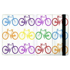Rainbow Colors Bright Colorful Bicycles Wallpaper Background Apple iPad 2 Flip Case
