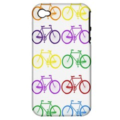 Rainbow Colors Bright Colorful Bicycles Wallpaper Background Apple iPhone 4/4S Hardshell Case (PC+Silicone)