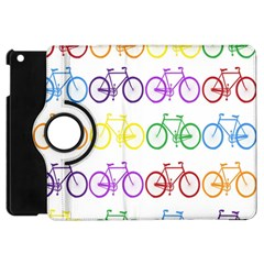 Rainbow Colors Bright Colorful Bicycles Wallpaper Background Apple iPad Mini Flip 360 Case