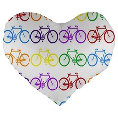 Rainbow Colors Bright Colorful Bicycles Wallpaper Background Large 19  Premium Heart Shape Cushions