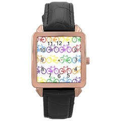 Rainbow Colors Bright Colorful Bicycles Wallpaper Background Rose Gold Leather Watch