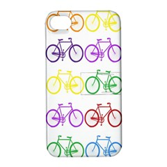 Rainbow Colors Bright Colorful Bicycles Wallpaper Background Apple iPhone 4/4S Hardshell Case with Stand