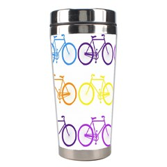 Rainbow Colors Bright Colorful Bicycles Wallpaper Background Stainless Steel Travel Tumblers