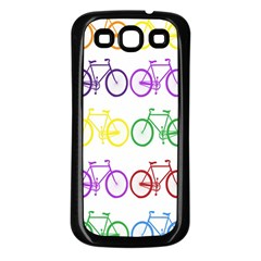 Rainbow Colors Bright Colorful Bicycles Wallpaper Background Samsung Galaxy S3 Back Case (Black)