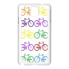 Rainbow Colors Bright Colorful Bicycles Wallpaper Background Samsung Galaxy Note 3 N9005 Case (white)