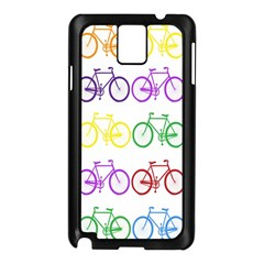 Rainbow Colors Bright Colorful Bicycles Wallpaper Background Samsung Galaxy Note 3 N9005 Case (Black)