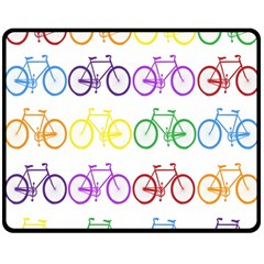 Rainbow Colors Bright Colorful Bicycles Wallpaper Background Double Sided Fleece Blanket (Medium)