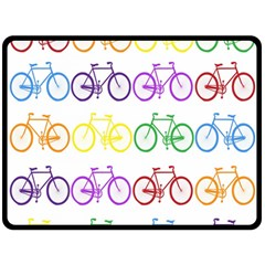 Rainbow Colors Bright Colorful Bicycles Wallpaper Background Double Sided Fleece Blanket (large)