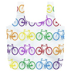 Rainbow Colors Bright Colorful Bicycles Wallpaper Background Full Print Recycle Bags (L)