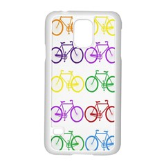 Rainbow Colors Bright Colorful Bicycles Wallpaper Background Samsung Galaxy S5 Case (White)