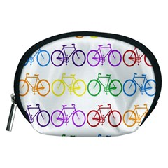 Rainbow Colors Bright Colorful Bicycles Wallpaper Background Accessory Pouches (Medium)