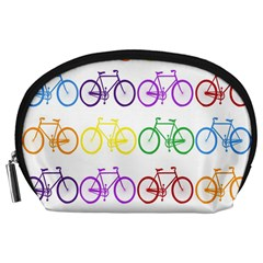 Rainbow Colors Bright Colorful Bicycles Wallpaper Background Accessory Pouches (Large)