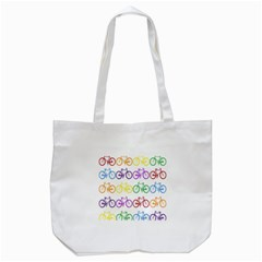 Rainbow Colors Bright Colorful Bicycles Wallpaper Background Tote Bag (White)