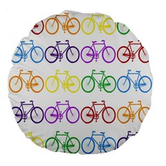 Rainbow Colors Bright Colorful Bicycles Wallpaper Background Large 18  Premium Flano Round Cushions