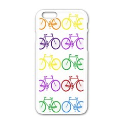 Rainbow Colors Bright Colorful Bicycles Wallpaper Background Apple iPhone 6/6S White Enamel Case