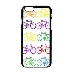 Rainbow Colors Bright Colorful Bicycles Wallpaper Background Apple iPhone 6/6S Black Enamel Case