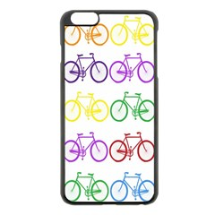 Rainbow Colors Bright Colorful Bicycles Wallpaper Background Apple iPhone 6 Plus/6S Plus Black Enamel Case