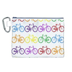 Rainbow Colors Bright Colorful Bicycles Wallpaper Background Canvas Cosmetic Bag (L)