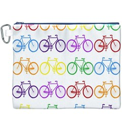 Rainbow Colors Bright Colorful Bicycles Wallpaper Background Canvas Cosmetic Bag (xxxl)